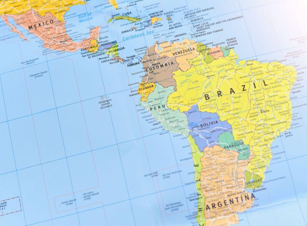 Karta över Latinamerika
